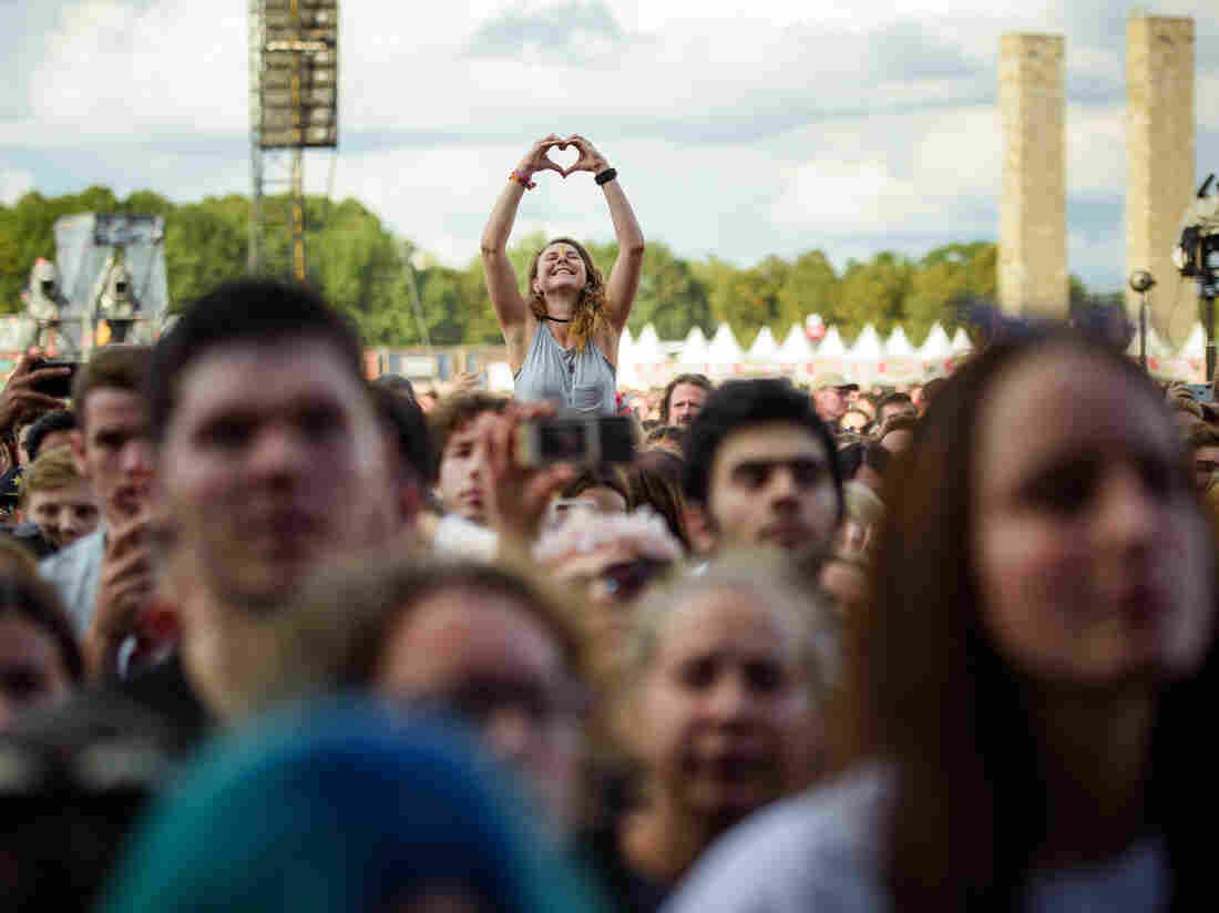 The audience at the Lollapalooza Festival in Olympic Park in Berlin as seen on Sept. 8, 2019.