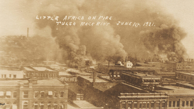 """""""Little Africa on fire, Tulsa Race Riot, June 1, 1921"""" University of Tulsa/McFarlin Library Special Collections"""