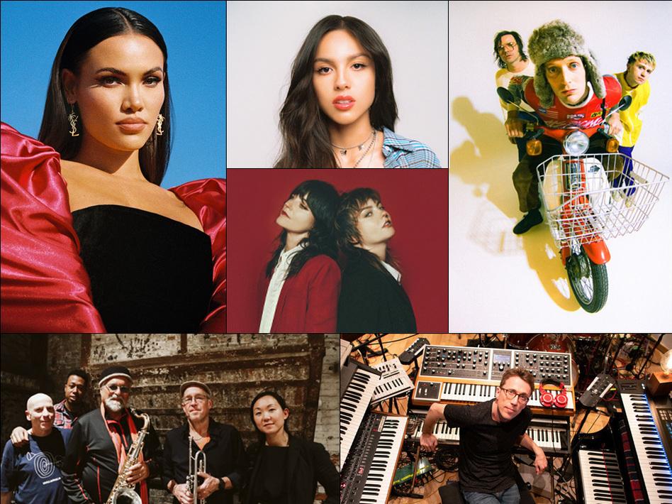 Top left, clockwise: Sinéad Harnett, Olivia Rodrigo, The Zolas, Sharon Van Etten & Angel Olsen, Bill Laurance, Sound Prints. (Courtesy of the artists)