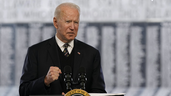 President Joe Biden spoke in observance of Memorial Day from New Castle, Del., Sunday.