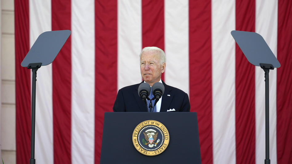 President Joe Biden speaks during the National Memorial Day Observance at Arlington National Cemetery Monday. His budget proposal drops a decades-long ban on public funding for abortion. (Alex Brandon/AP)