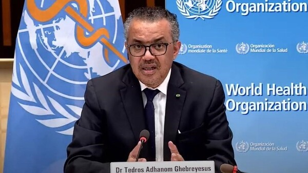 """""""At present, pathogens have greater power than WHO,"""" World Health Organization leader Tedros Adhanom Ghebreyesus said on Monday. """"They exploit our interconnectedness and expose our inequities and divisions."""" Tedros is seen speaking earlier this month in Geneva, Switzerland."""