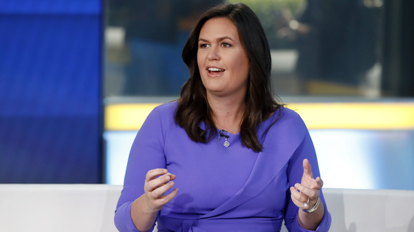 """Sarah Huckabee Sanders, former White House press secretary, is seen during a 2019 appearance on the """"Fox & Friends"""" television show."""