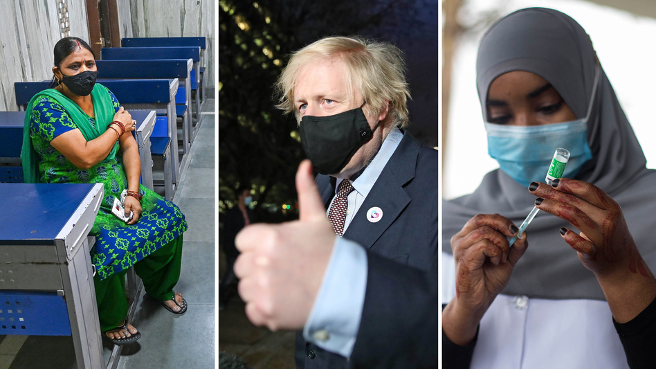 From left: A New Delhi woman waits in an observation room after getting the Covishield vaccine (the name used for the AstraZeneca vaccine in India) on May 26. U.K. Prime Minister Boris Johnson leaves a vaccination center after his first AstraZeneca dose on March 19. On March 9, Nairobi, Kenya, began vaccinating groups, including health care workers and older people, with the AstraZeneca vaccine. (From left: Prakash Singh, Aaron Chown, Robert Bonet/Getty Images)