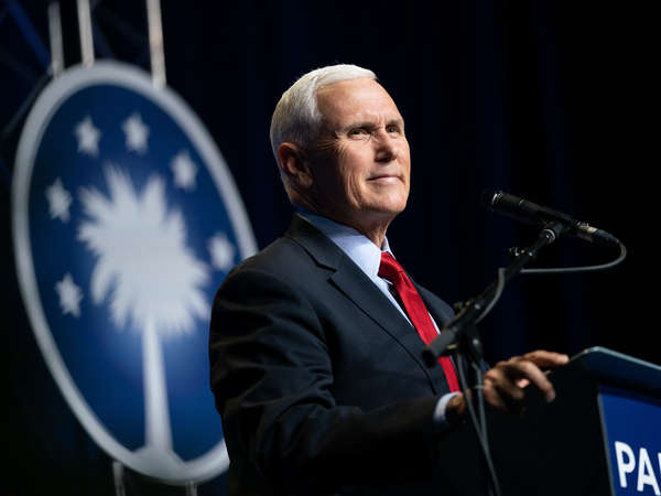 Former Vice President Mike Pence speaks to a crowd in Columbia, S.C., during an event sponsored by the Palmetto Family organization.