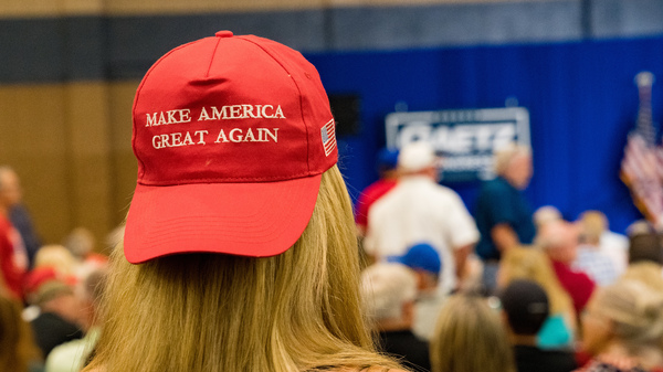 Supporters of former President Donald Trump gather to hear Reps. Marjorie Taylor Greene, R-Ga., and Matt Gaetz, R-Fla., speak at an America First Rally last month.