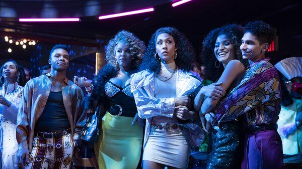 (l-r): Dyllón Burnside, Hailie Sahar, Mj Rodriguez, Indya Moore, Angel Bismark Curiel in Season 3 of Pose.