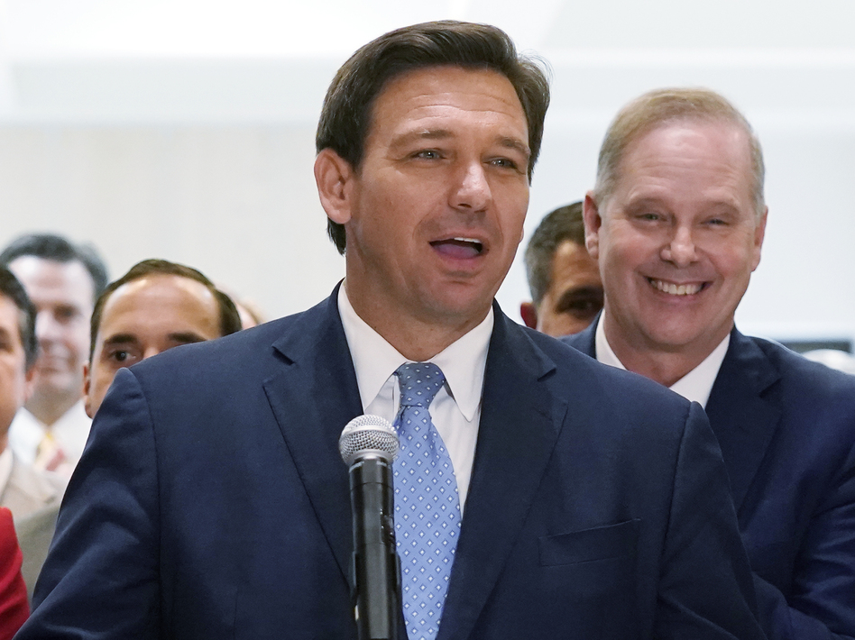 In this April 30, 2021, file photo, Florida Gov.Ron DeSantis speaks at the end of a legislative session at the Capitol in Tallahassee, Fla. (Wilfredo Lee/AP)