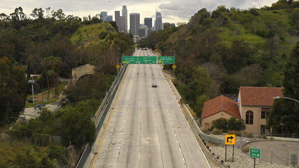 Empty highways like this one in Los Angeles during the pandemic year may have enticed drivers to drive less safely and caused a spike in traffic deaths in 2020.
