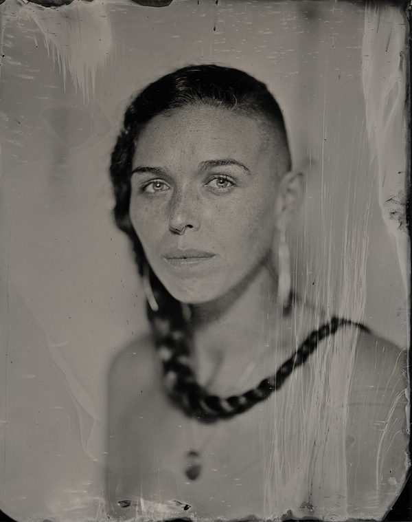 The work of Kali Spitzer Kaska Dena  Jewish embraces the stories of BIPOC queer and trans people creating representations that are self-determined This traditional tintype photo of Larissa Lorraine Grieves Nisgaa Gitxsan Cree Blackfoot from the Pikuni Nation Metis Swedish Irish and Scottish was made in 2021