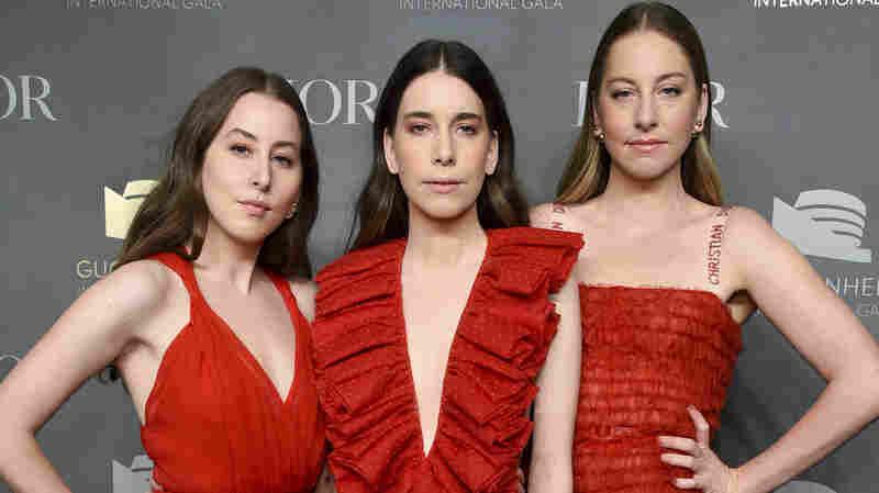 Alana Haim, left, Danielle Haim and Este Haim attend the 2017 Guggenheim International Gala in New York on Nov. 16, 2017.