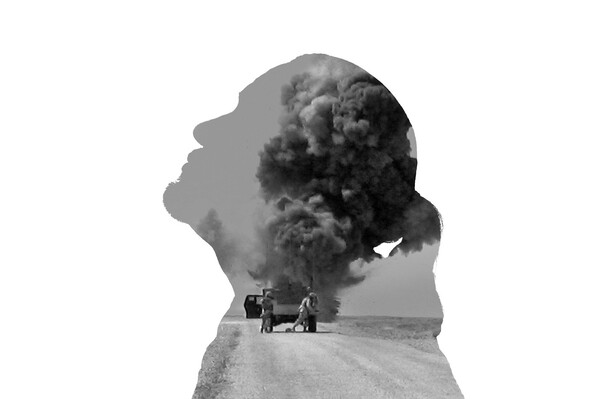 Combat veteran Nathan Maybee Seneca faces his trauma and PTSD through photography Above Maybees silhouette is layered with a video still he made in Iraq Post-combat life has many struggles says Maybee and this image represents that You miss it you hate it youre thankful for the experience youre angry at the losses