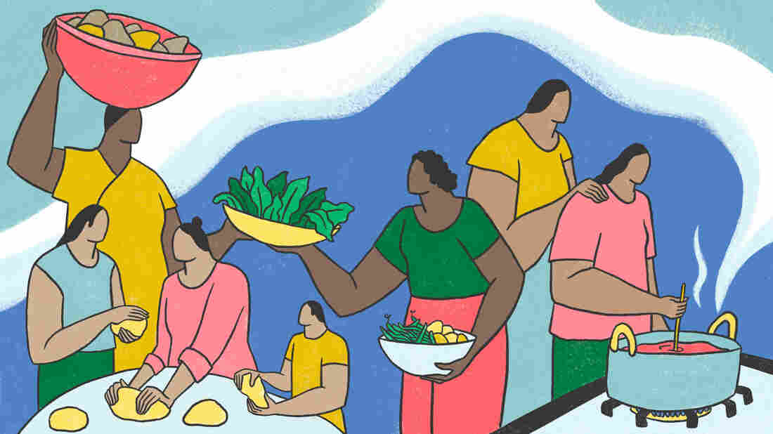 An illustration of a people preparing food. The people on the left are from past generations, preparing food in traditional ways. The people on the right of the frame are contemporary and are learning from and inspired by past generations — a waft of steam signifying a connection between them.