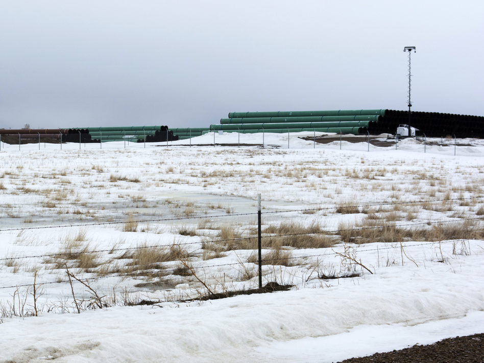 A storage yard in Montana contains pipe that was to be used in the construction of the Keystone XL oil pipeline. The developer has now canceled the controversial project. (Al Nash/Bureau of Land Management via AP)