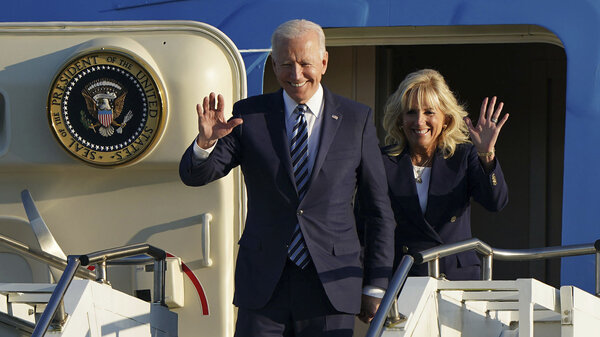 President Biden and first lady Jill Biden arrive Wednesday at Royal Air Force Mildenhall in England ahead of the G-7 summit. The president will try to reestablish U.S. global leadership and repair old friendships.