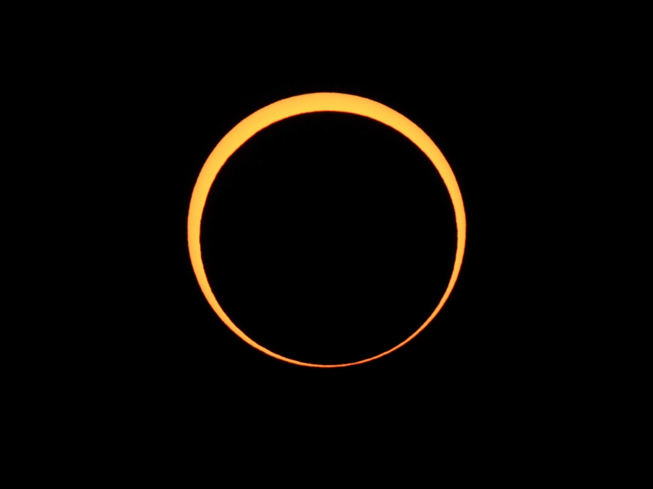 The moon appears to cover the sun during an annular eclipse of the sun in May 2012, as seen from Chaco Culture National Historical Park in Nageezi, N.M. (Stan Honda/AFP via Getty Images)