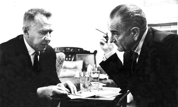 Soviet Premier Alexei Kosygin (left) and President Lyndon Johnson meet with each other at Glassboro State College in Glassboro, N.J., on June 23, 1967.