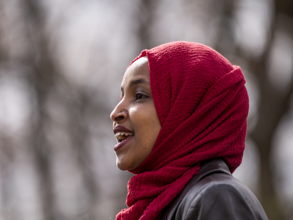 Rep. Ilhan Omar, D-Minn., here at an April press conference, issued a clarification Thursday of comments she made that appeared to equate the United States and Israel with Hamas and the Taliban. (Stephen Maturen/Getty Images)