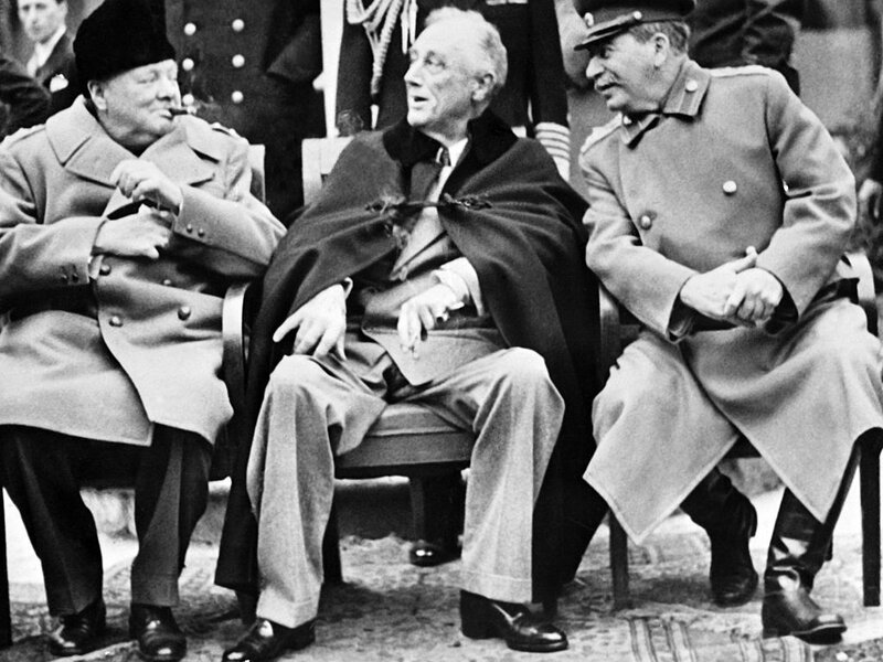 British Prime minister Winston Churchill (left), President Franklin D. Roosevelt and USSR Secretary General of the Soviet Communist Party Joseph Stalin pose at the start of the Conference of the Allied powers in Yalta, Crimea, on Feb. 4, 1945 at the end of World War II.