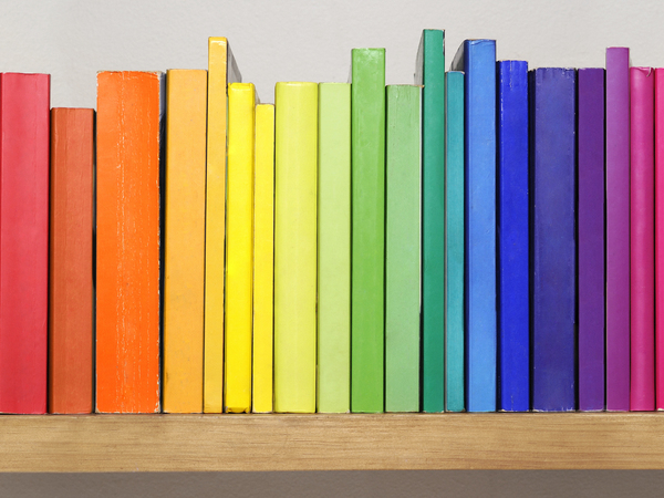 A rainbow of book spines