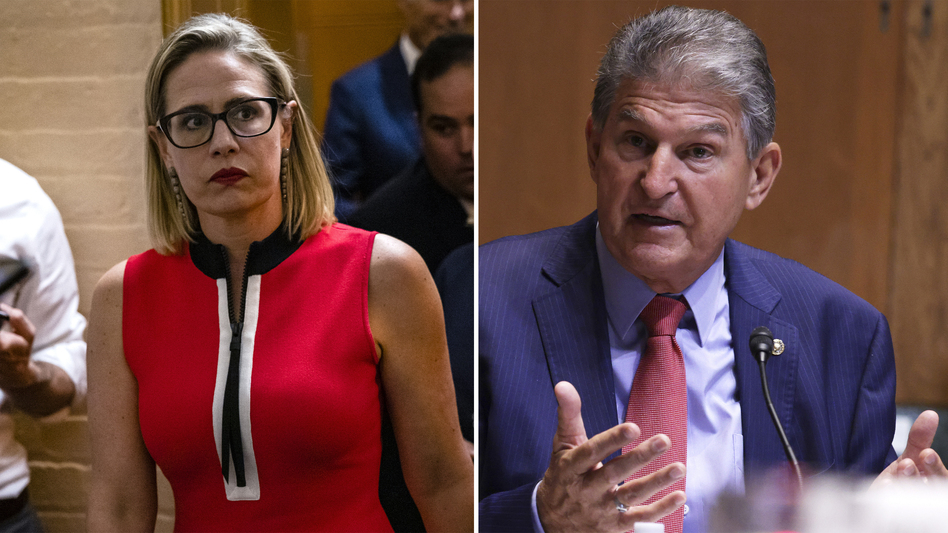 U.S. Sens. Kyrsten Sinema, D-Ariz., and Joe Manchin, D-W.Va., are the two most prominent Democrats to support the notion that the Senate needs to pursue bipartisan legislation on virtually every front. (Samuel Corum/Getty Images; Alex Wong/Getty Images)