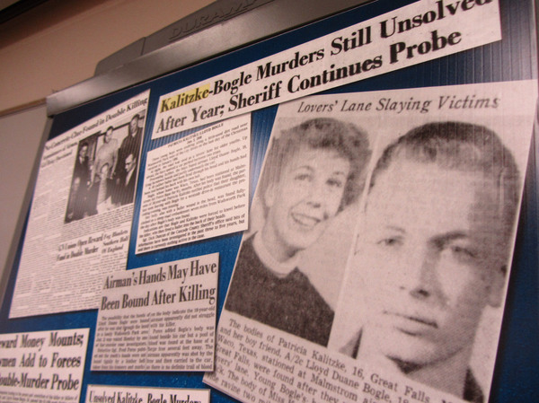 Clippings from the Great Falls Tribune were part of the Cascade County Sheriff's Office investigative file into the 1956 murders of Patricia Kalitzke and Lloyd Duane Bogle.