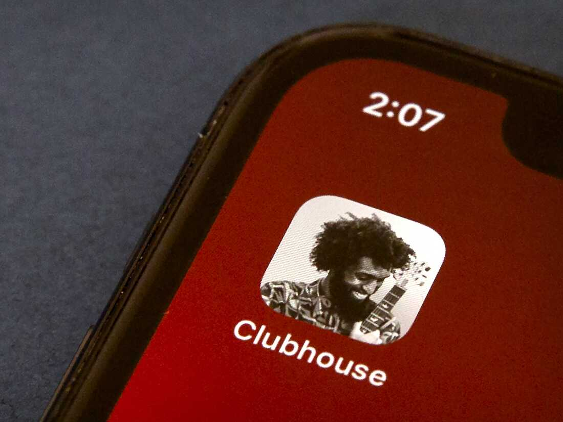 The icon for the social media app Clubhouse is seen on a smartphone screen.