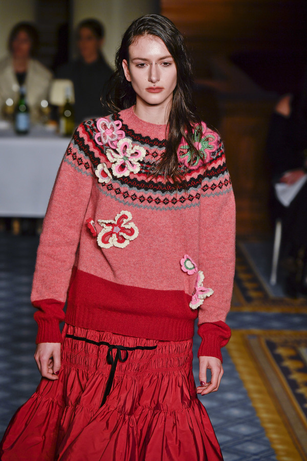 Molly Goddard's ready-to-wear fall/winter 2020-2021 London Fashion Week show introduced frills dressed down with cozy sweaters.