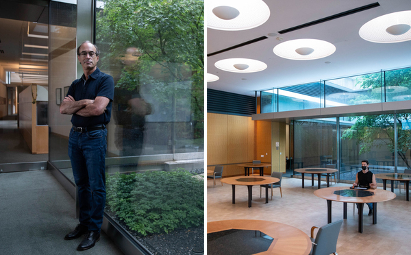 Left: Ron Vale, executive director of the Janelia Research Campus, hopes to have all employees back in the building by late September. Right: An employee eats lunch alone at a table that in pre-pandemic times seated eight.
