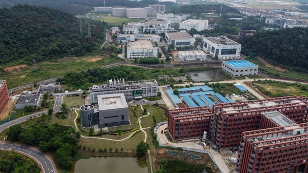An aerial view of the campus of the Wuhan Institute of Virology.