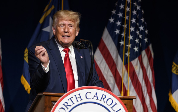 Former President Donald Trump is seen here addressing the NCGOP convention on June 5.