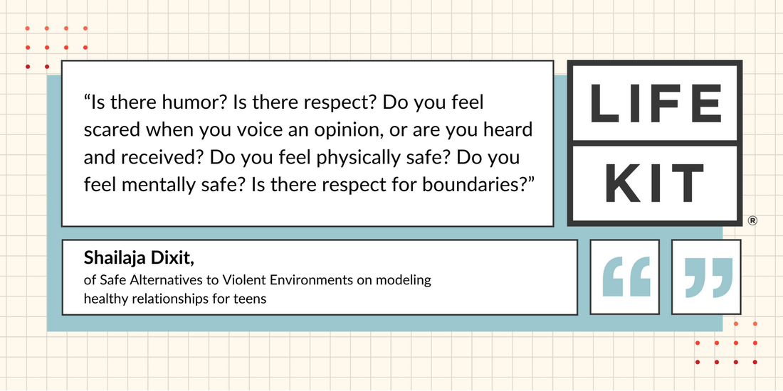 """A quote card highlighting a quote from Shailaja Dixit: """"Is there humor? Is there respect? Do you feel scared when you voice an opinion, or are you heard and received? Do you feel physically safe? Do you feel mentally safe? Is there respect for boundaries?"""""""