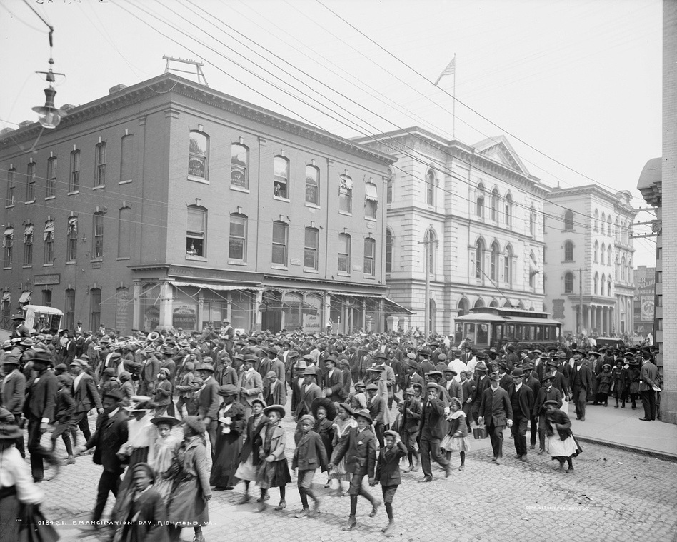 Emancipation Day is celebrated in 1905 in Richmond, Va., the onetime capital of the Confederacy. (Library of Congress)