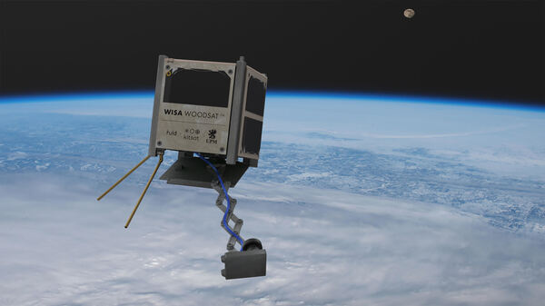 WISA Woodsat, seen in an artist's rendering, is billed as the world's first wooden satellite. It's set to be launched from New Zealand before the end of the year.  - woodsat in orbit wide fcb15eceaa3c61f7b7ad32f7d700e51785bbf03f - Where no plywood has gone before: A space agency will launch a tiny, wooden satellite