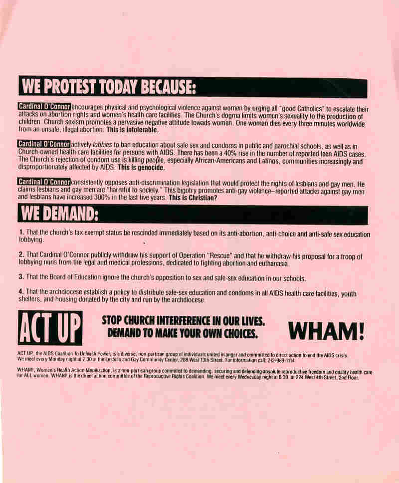 ACT UP flyer distributed to parishioners during the Stop theChurch action, December 10, 1989 (Vincent Gagliostro)