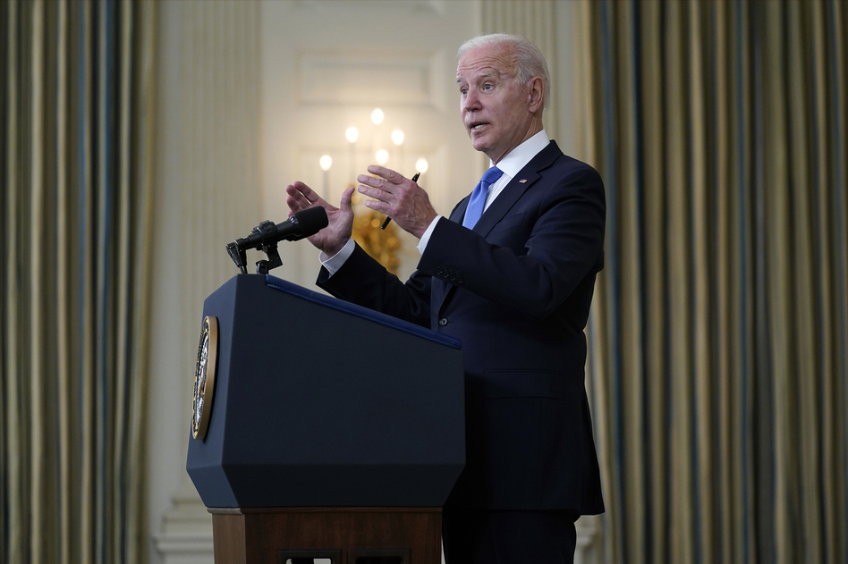 President Joe Biden takes questions from reporters as he speaks about the American Rescue Plan, in the State Dining Room of the White House, Wednesday, May 5, in Washington. (Evan Vucci/AP)