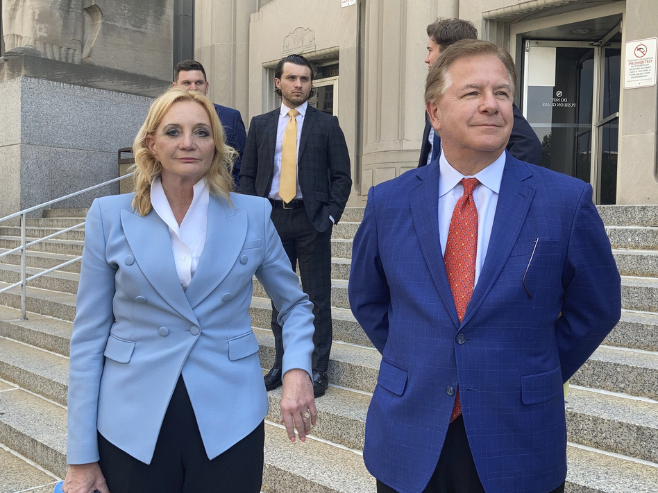 Patricia McCloskey and her husband Mark McCloskey pleaded guilty to misdemeanor crimes on Thursday. They also agreed to forfeit both weapons they used when they confronted protesters in front of their home in June of last year. (Jim Salter/AP)