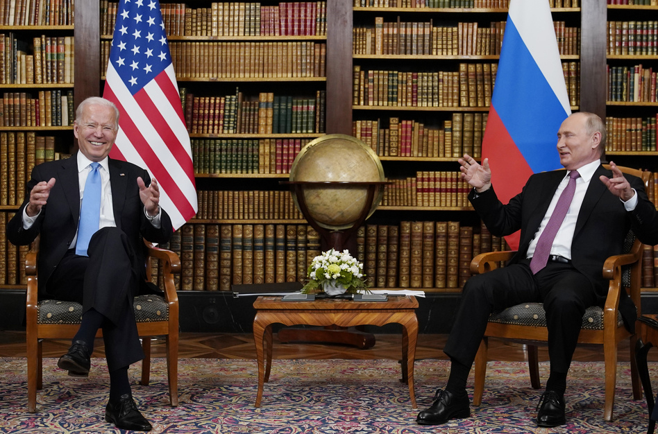 """At their summit in Geneva on Wednesday, President Biden told Russian leader Vladimir Putin that the U.S. would strike back if it keeps getting hit with cyberattacks. """"Responsible countries need to take action against criminals who conduct ransomware activities on their territory,"""" Biden said. (Patrick Semansky/AP)"""