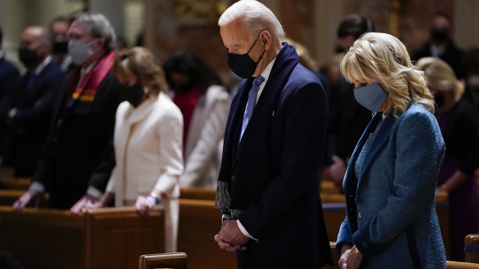 President Biden and his wife, Jill Biden, attend Mass at the Cathedral of St. Matthew the Apostle during Inauguration Day ceremonies in Washington, D.C. (Evan Vucci/AP)