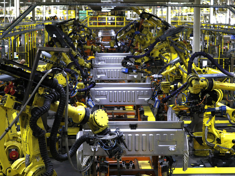 DEARBORN, MI - Ford F150 trucks being built by robots