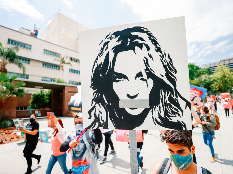 #FreeBritney activists protest outside the Los Angeles Superior Court during one of Britney Spears' hearings this April. (Matt Winkelmeyer/Getty Images)