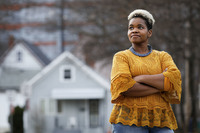 Community activist India Walton looks on as she campaigns to replace four-term Mayor Byron Brown, in Buffalo, New York, U.S., December 15, 2020.