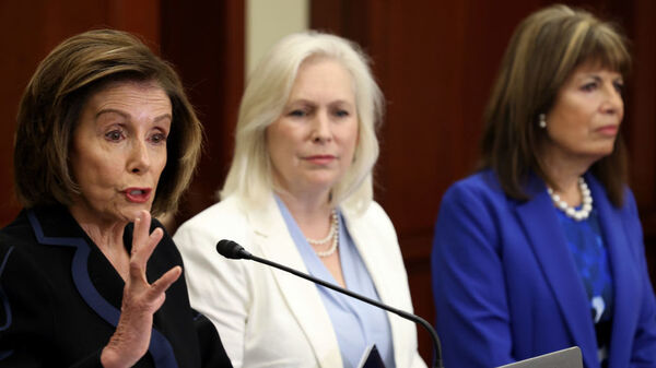 House Speaker Nancy Pelosi, D-Calif., speaks at a press conference Wednesday with Sen. Kirsten Gillibrand, D-N.Y., and Rep. Jackie Speier, D-Calif., at the U.S. Capitol.