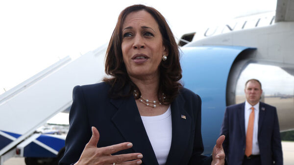 Vice President Harris, pictured in front of Air Force Two on June 14, is headed to the U.S. southern border on Friday.