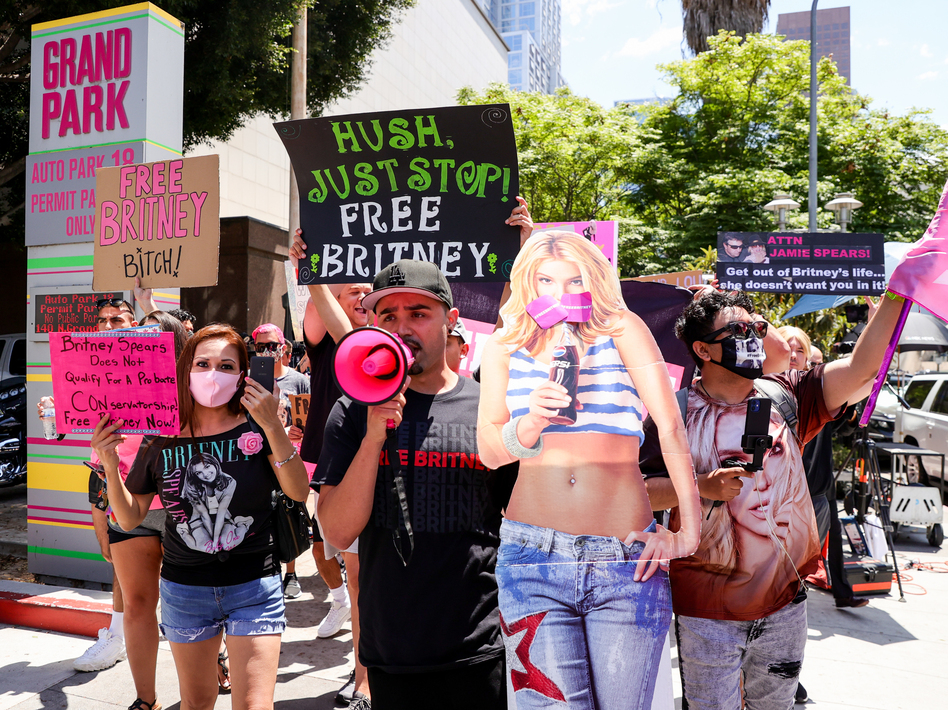 Supporters of Britney Spears protest during her conservatorship hearing in Los Angeles on Wednesday. (Rich Fury/Getty Images)