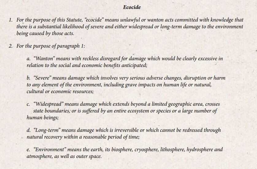 Proposed definition of ecocide.