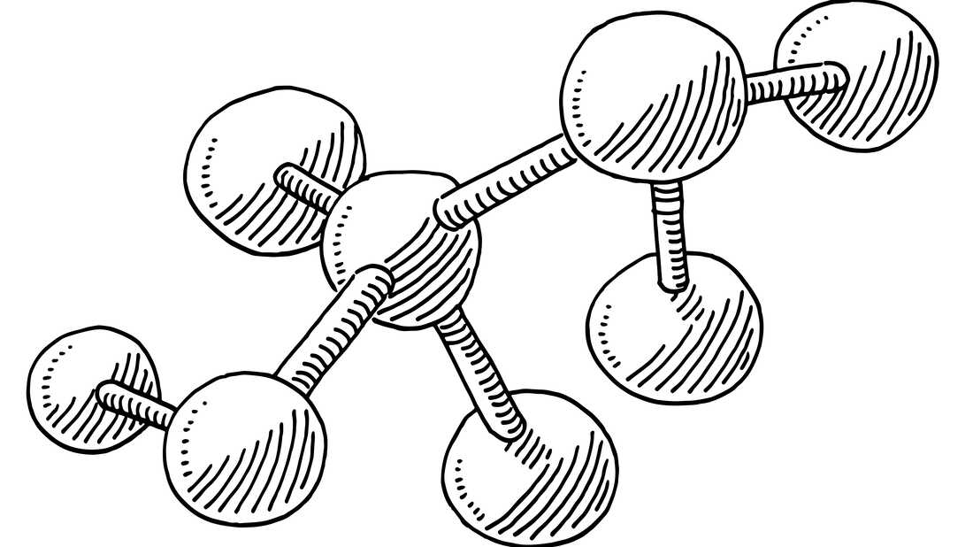 Hand-drawn vector drawing of a Molecule Chemistry Symbol. Black-and-White sketch on a transparent background (.eps-file). Included files are EPS (v10) and Hi-Res JPG.