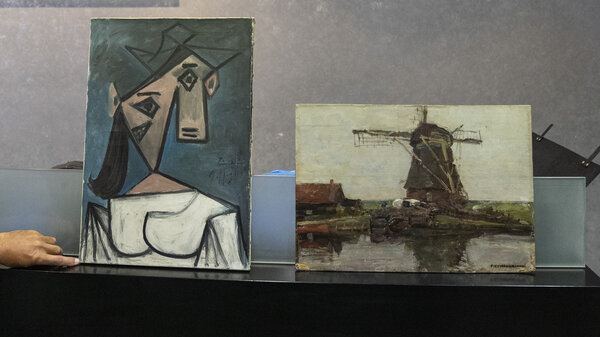 Greek police says they have recovered two paintings by 20th century masters Pablo Picasso and Piet Mondrian, nearly a decade after their theft from the country's biggest state art gallery in Athens.