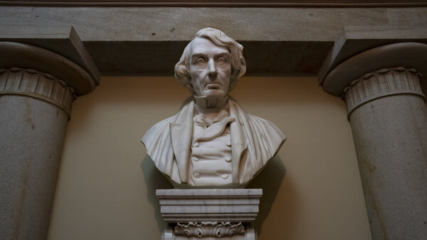This file photo shows the marble bust of Chief Justice Roger Taney that is currently displayed in the Old Supreme Court Chamber in the U.S. Capitol. The House voted Tuesday on a bill that would remove the bust from public display.