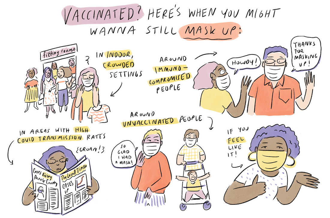 There are some situations where you still might want to mask up: in crowded indoor settings, around immunocompromised people, in areas with high COVID-19 transmission rates and around unvaccinated people.